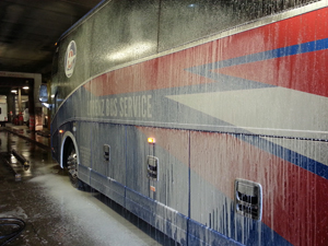 motor coach getting cleaned